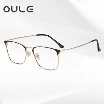 OULE 男女同款个性潮流方框眼镜 商务全框防蓝光近视眼镜框 黑金色