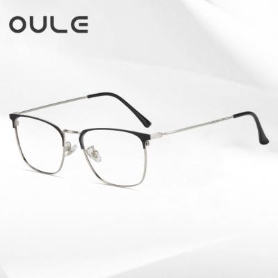 OULE 男女同款个性潮流方框眼镜 商务全框防蓝光近视眼镜框 黑银色