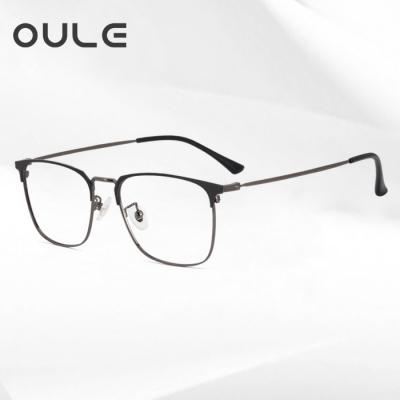 OULE 男女同款个性潮流方框眼镜 商务全框防蓝光近视眼镜框 黑枪色