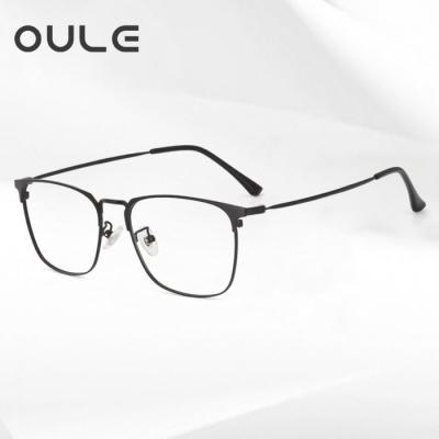OULE 男女同款个性潮流方框眼镜 商务全框防蓝光近视眼镜框 黑色