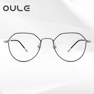 OULE 男女同款多边形防辐射眼镜 纯钛防蓝光近视眼镜框 黑银色