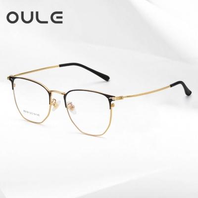 OULE 男女同款个性复古大脸超轻近视镜 潮防蓝光辐射眼镜框 黑金色