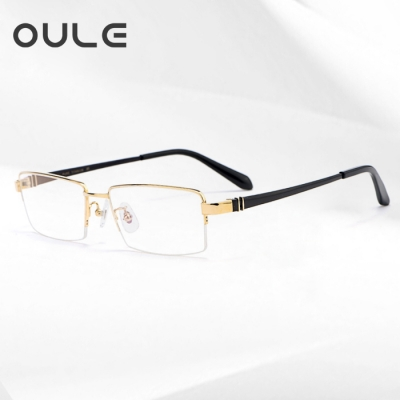 OULE 超轻半框高端纯钛眼镜 男士商务时尚近视眼镜框 金色