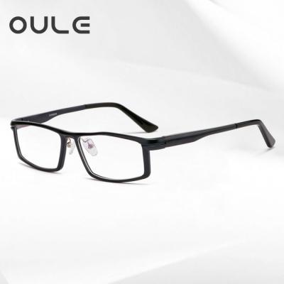 OULE 铝镁合金属眼镜框 男士全框方形大框近视眼镜架 黑色