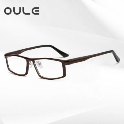 OULE 铝镁合金属眼镜框 男士全框方形大框近视眼镜架 咖色