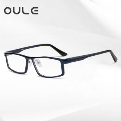 OULE 铝镁合金属眼镜框 男士全框方形大框近视眼镜架 蓝色