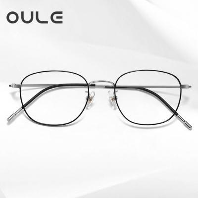 OULE 男女同款防蓝光近视眼镜 纯钛方框防辐射眼镜框 黑银色