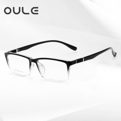 OULE 新款TR90商务休闲男女款眼镜框 防蓝光防辐射近视眼镜 透黑色