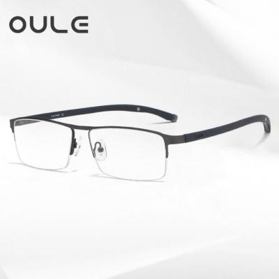 OULE 新款商务眼镜框 超轻半框眉线高档金属近视眼镜 磨砂枪