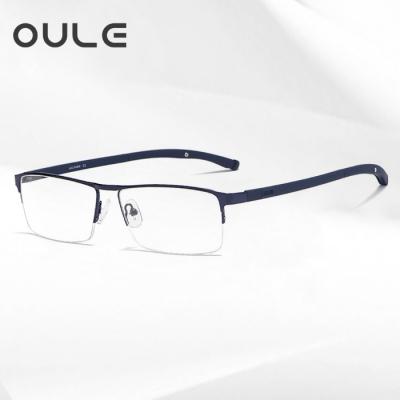 OULE 新款商务眼镜框 超轻半框眉线高档金属近视眼镜 蓝色