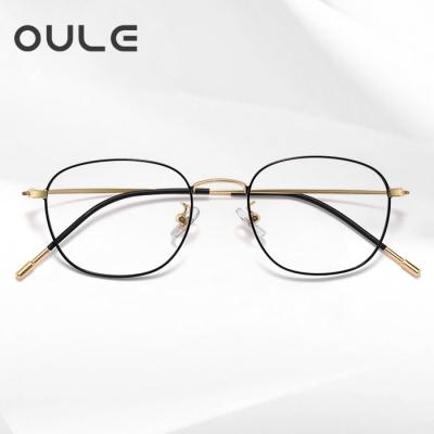 OULE 男女同款防蓝光近视眼镜 纯钛方框防辐射眼镜框 黑金色