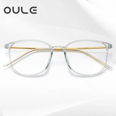 OULE 男女款纯钛近视眼镜架 超轻透明大框圆形防蓝光眼镜 透明色