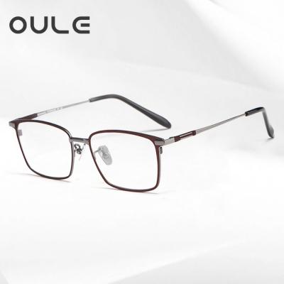 OULE 新款纯钛眼镜架时尚复古方框眼镜 方形大框近视眼镜 咖啡枪