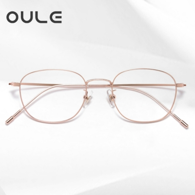 OULE 男女同款防蓝光近视眼镜 纯钛方框防辐射眼镜框 玫瑰金