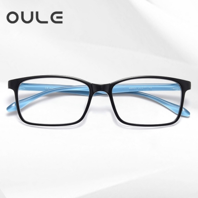 OULE 新款韩国超轻TR90眼镜框 防蓝光防辐射方形近视眼镜框 黑框蓝腿