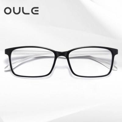OULE 新款韩国超轻TR90眼镜框 防蓝光防辐射方形近视眼镜框 黑框白腿