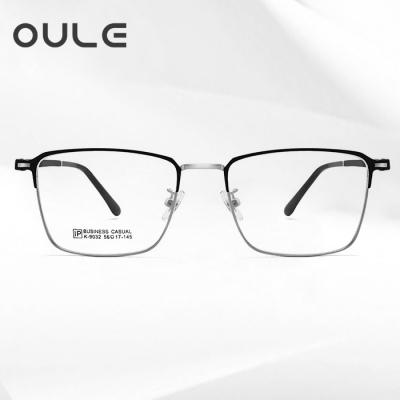 OULE 新款复古方框眼镜 时尚男女大脸全框近视眼镜架 黑银色