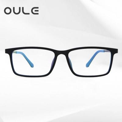 OULE 纯钛超轻防辐射防蓝光眼镜架 复古方框TR90近视眼镜 外黑内蓝