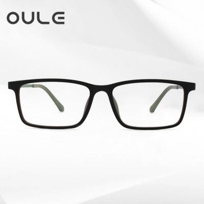OULE 纯钛超轻防辐射防蓝光眼镜架 复古方框TR90近视眼镜 磨砂黑