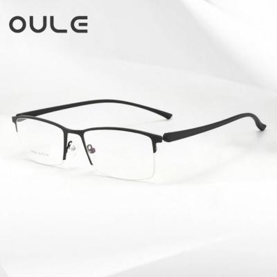 OULE 商务半框TR镜腿近视眼镜 超轻金属合金防蓝光眼镜框 黑色