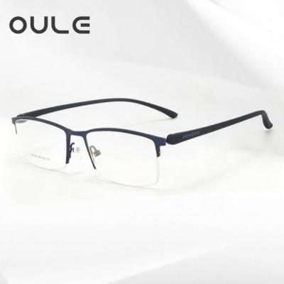 OULE 商务半框TR镜腿近视眼镜 超轻金属合金防蓝光眼镜框 蓝色