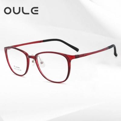 OULE 男女同款钨钛塑钢眼镜框 复古细框近视眼镜架 酒红色