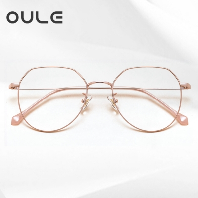 OULE 男女同款纯钛防蓝光辐射电脑眼镜 潮流不规则时尚眼镜框 玫瑰金