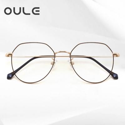 OULE 男女同款纯钛防蓝光辐射电脑眼镜 潮流不规则时尚眼镜框 黑金