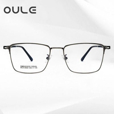 OULE 新款复古方框眼镜 时尚男女大脸全框近视眼镜架 枪色