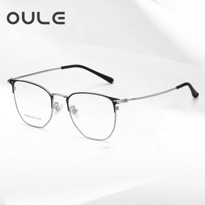OULE 男女同款个性复古大脸超轻近视镜 潮防蓝光辐射眼镜框 黑银色