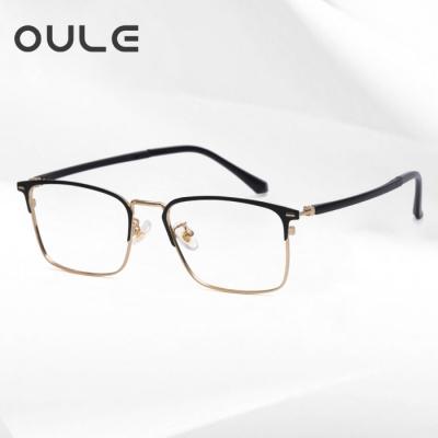 OULE 男女同款金属方框眼镜 时尚潮流防蓝光复古眼镜架 黑金色