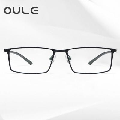 OULE 男士商务眼镜框 全框超轻合金防蓝光方肤色眼镜架 黑色