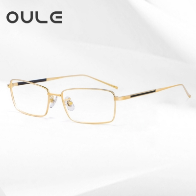 OULE 超轻高端纯钛近视眼镜框 男士商务大脸眼镜架 金色框