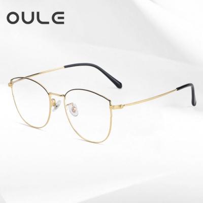 OULE 超轻钛架复古文艺眼镜 防蓝光辐射女近视眼镜框 黑金色