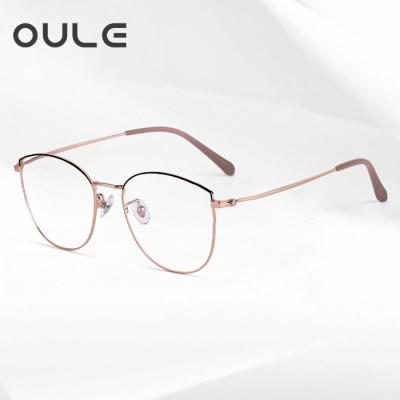 OULE 超轻钛架复古文艺眼镜 防蓝光辐射女近视眼镜框 黑玫瑰金