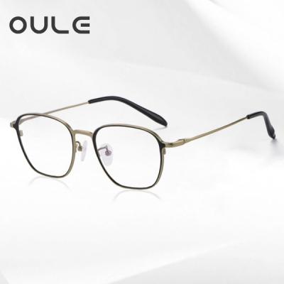 OULE 超轻高端纯钛复古眼镜框 男女时尚防蓝光钛架 亚黑金
