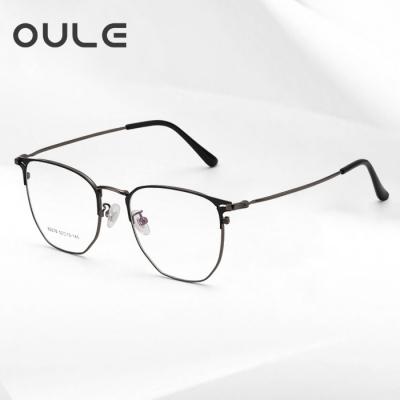 OULE 男女同款个性复古大脸超轻近视镜 潮防蓝光辐射眼镜框 枪色