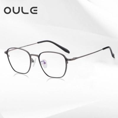 OULE 超轻高端纯钛复古眼镜框 男女时尚防蓝光钛架 黑枪