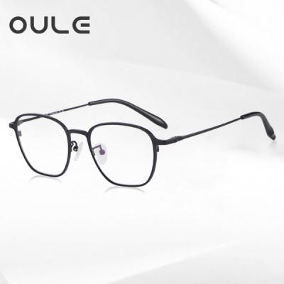 OULE 超轻高端纯钛复古眼镜框 男女时尚防蓝光钛架 黑色