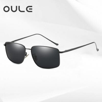 OULE 男士方形偏光太阳镜 潮流复古金属开车驾驶钓鱼镜 黑色