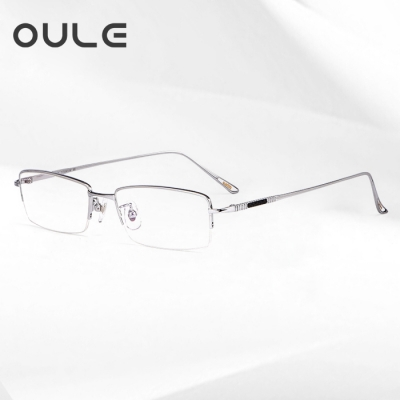 OULE 新款纯钛眼镜框商务镜框 高端男士超轻半框钛架 银色