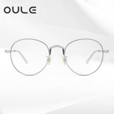 OULE 纯钛厚边近视眼镜框 高端钛大脸圆框高度眼镜架 银色