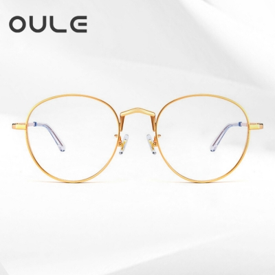 OULE 纯钛厚边近视眼镜框 高端钛大脸圆框高度眼镜架 金色