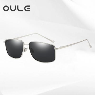 OULE 男士方形偏光太阳镜 潮流复古金属开车驾驶钓鱼镜 银色