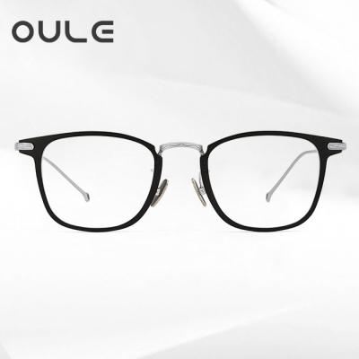 OULE 近视眼镜男纯钛全框眼镜 余文乐同款超轻近视钛架 黑银色