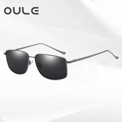 OULE 男士方形偏光太阳镜 潮流复古金属开车驾驶钓鱼镜 枪色