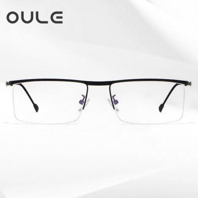 OULE 新款男士超轻合金眼镜框 男士商务半框近视眼镜架 黑色