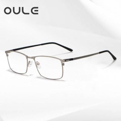 OULE 新款男士商务合金眼镜框 超轻全框方形商务近视眼镜 银色
