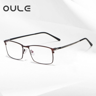 OULE 新款男士商务合金眼镜框 超轻全框方形商务近视眼镜 咖啡色