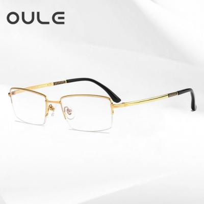 OULE 新款高端纯钛近视眼镜框 超轻商务男款半框眼镜架 金色